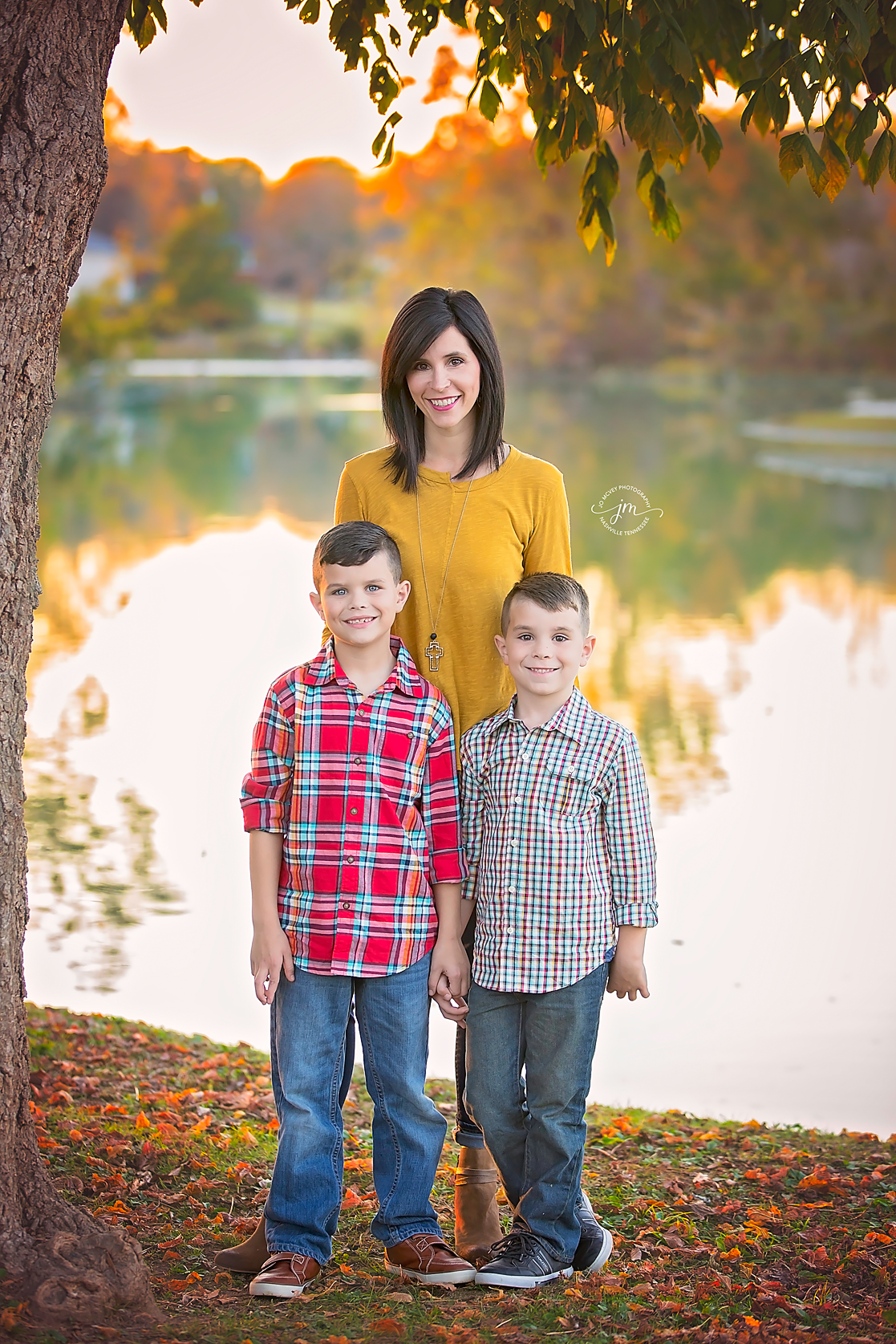 Mother and sons by creek - Nashville Family Photographer | Jo McVey Photography