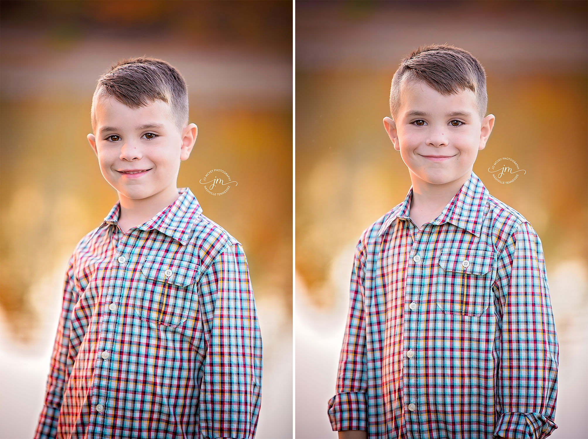 Little boy autumn headshot - Nashville Child Photographer | Jo McVey Photography
