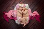 twin baby girls cuddling in basket - nashville newborn photographer