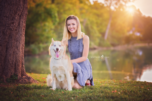 Senior girl with dog - Gallatin Senior Photography