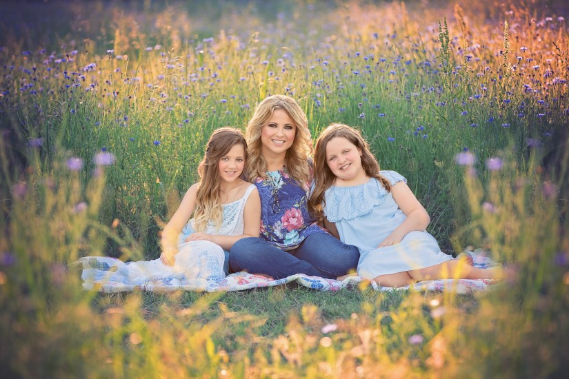 Mother with two daughters in flower field - Nashville mommy and me photos