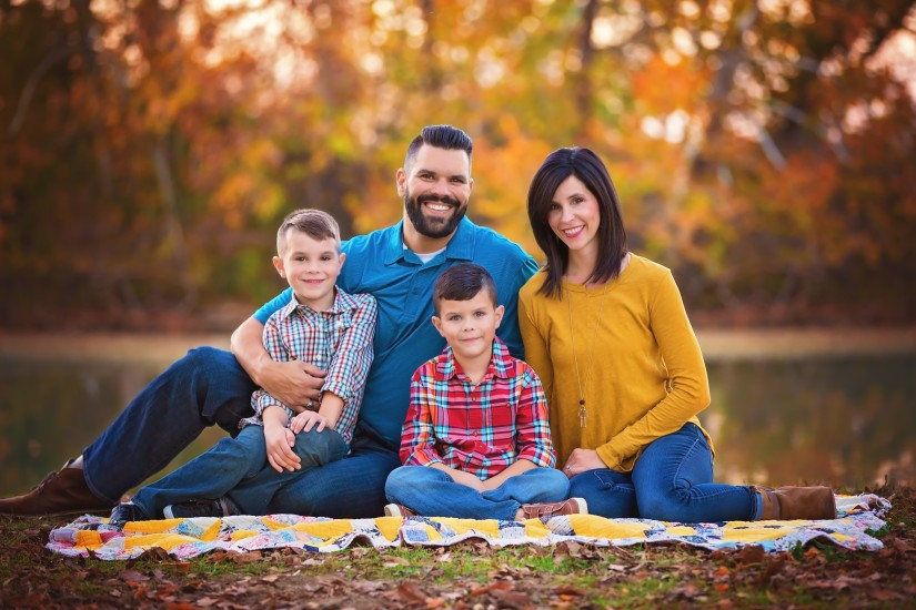 Family of 4 with two sons in fall setting - Tennessee Fine Art Family Portraits
