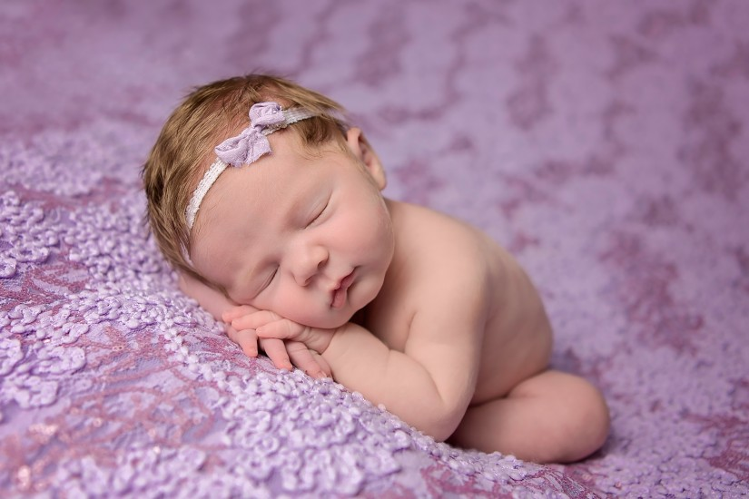 Baby girl with head resting on hands on purple background - Gallatin Newborn Photographer