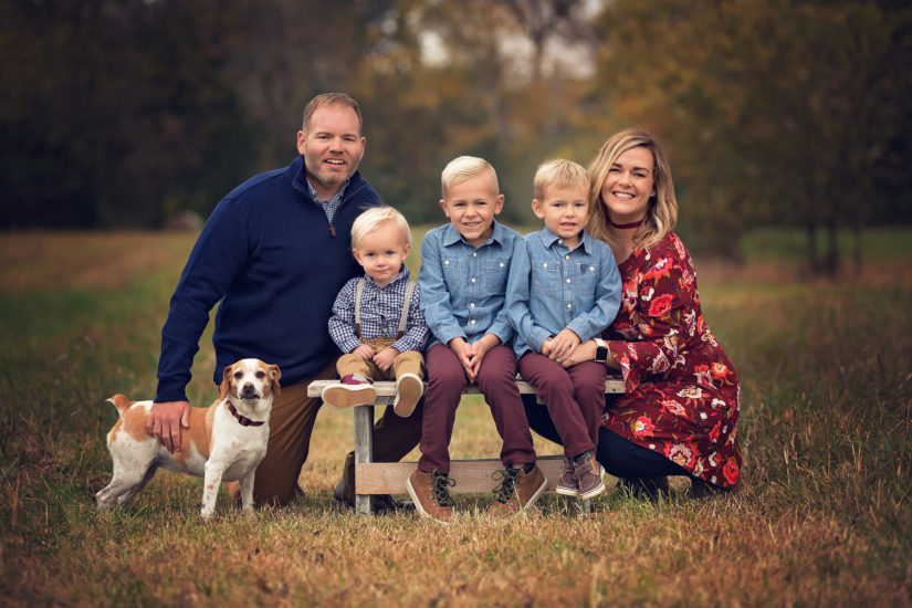 family of 5 with 3 boys and a dog