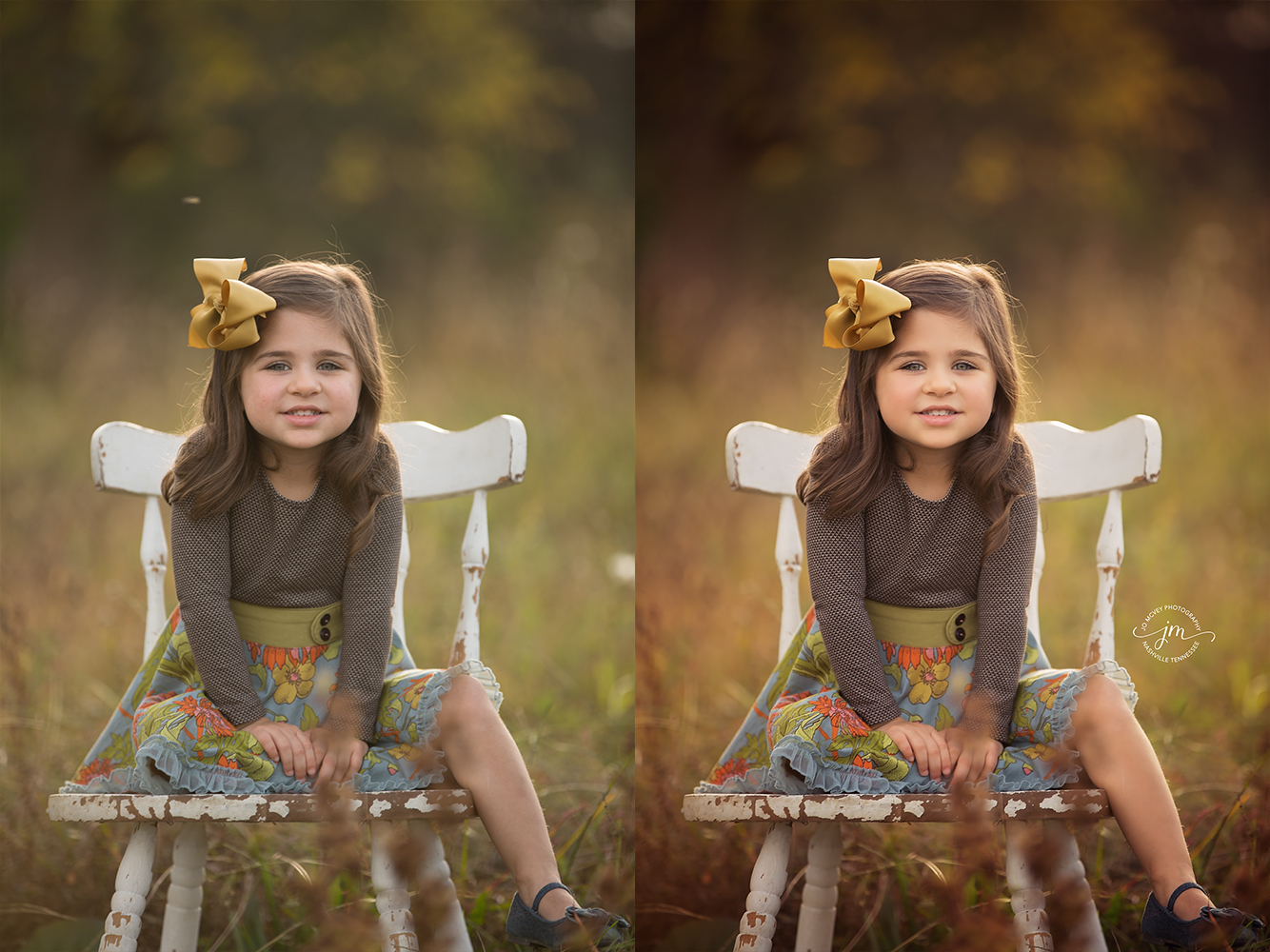 little girl sitting on chair portrait before and after - Jo McVey Photography