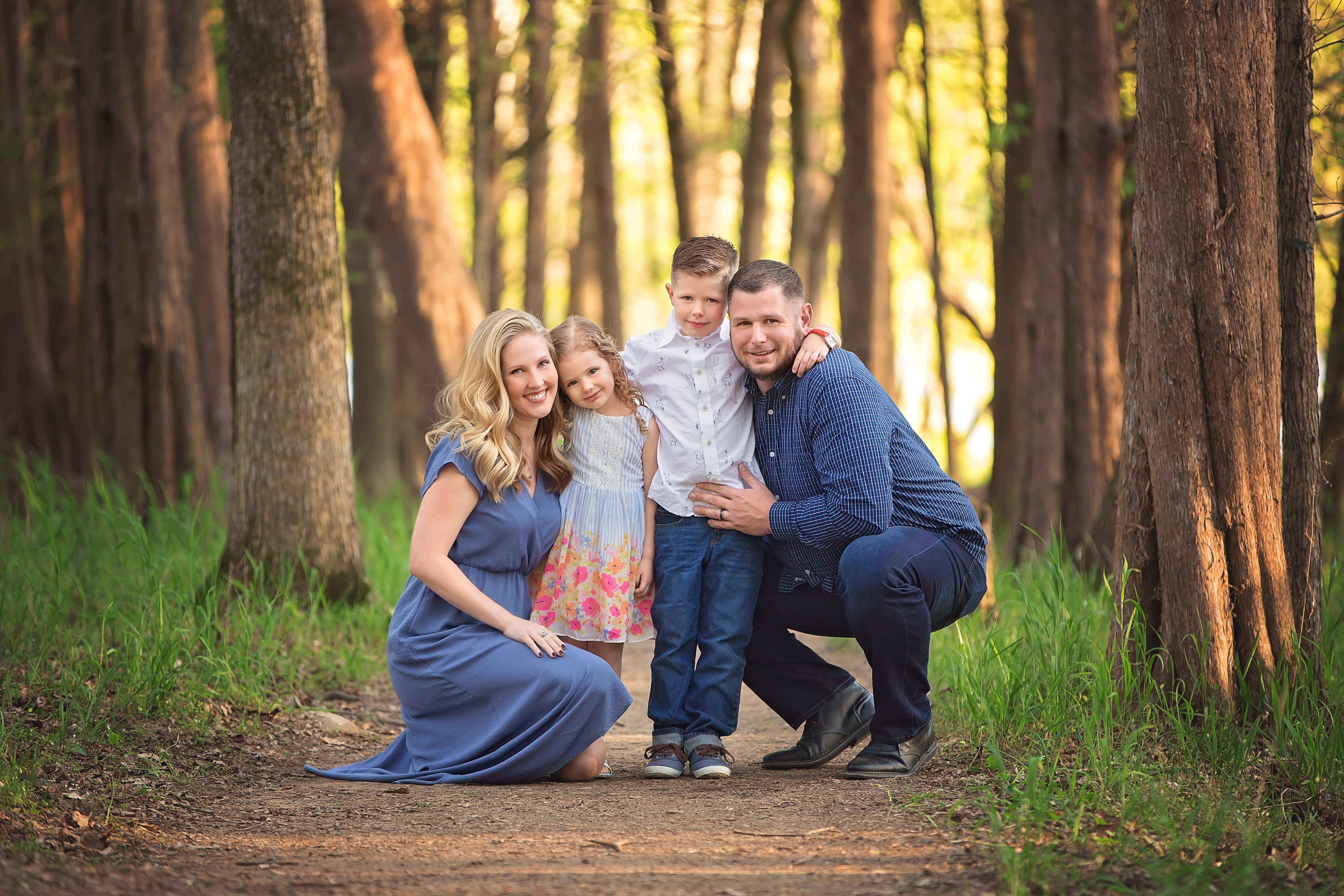 Family of 4 with forest backdrop - Jo McVey Photography