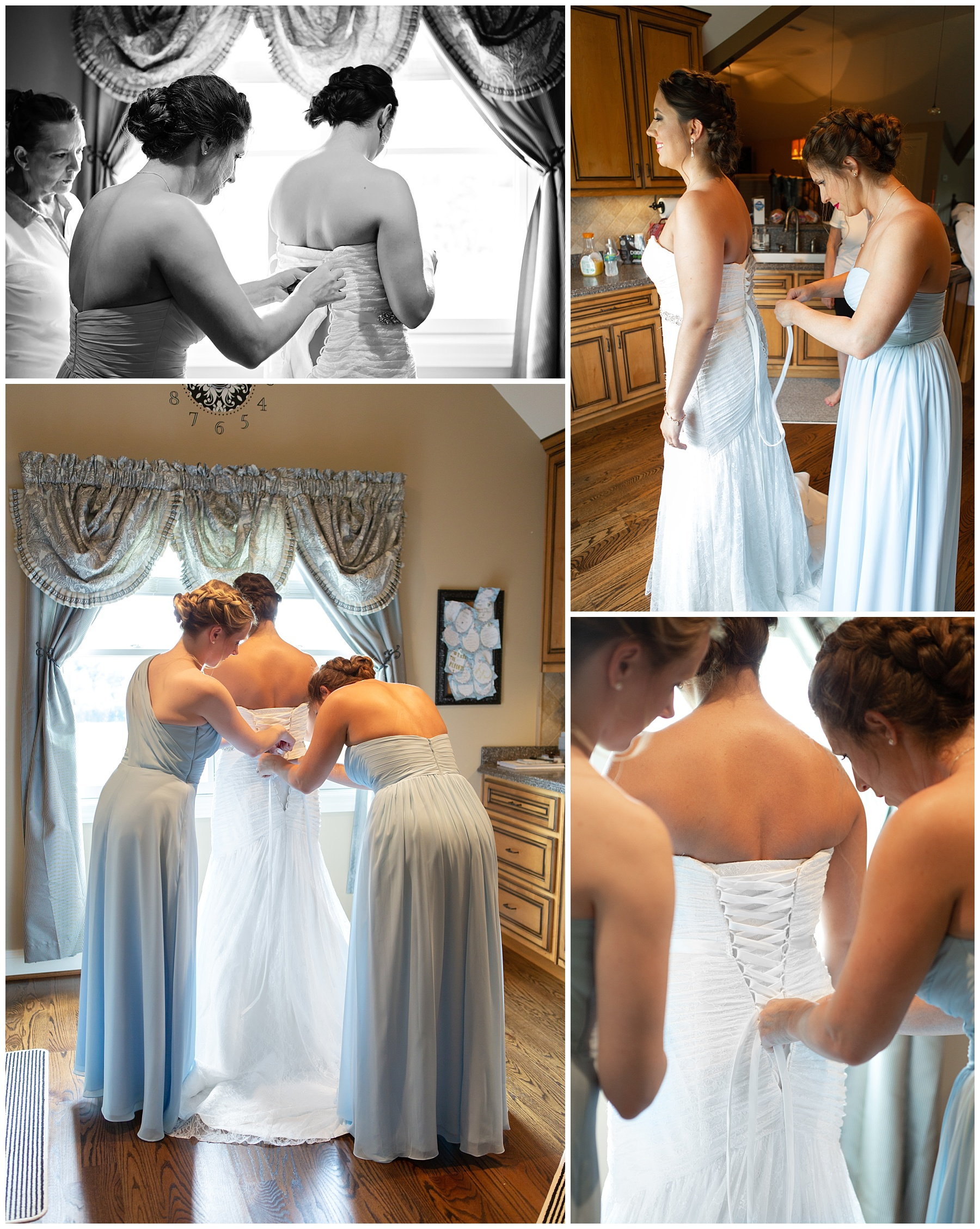Bridesmaids helping Bride getting ready - Rock Creek Farm - Gallatin Wedding Photographer