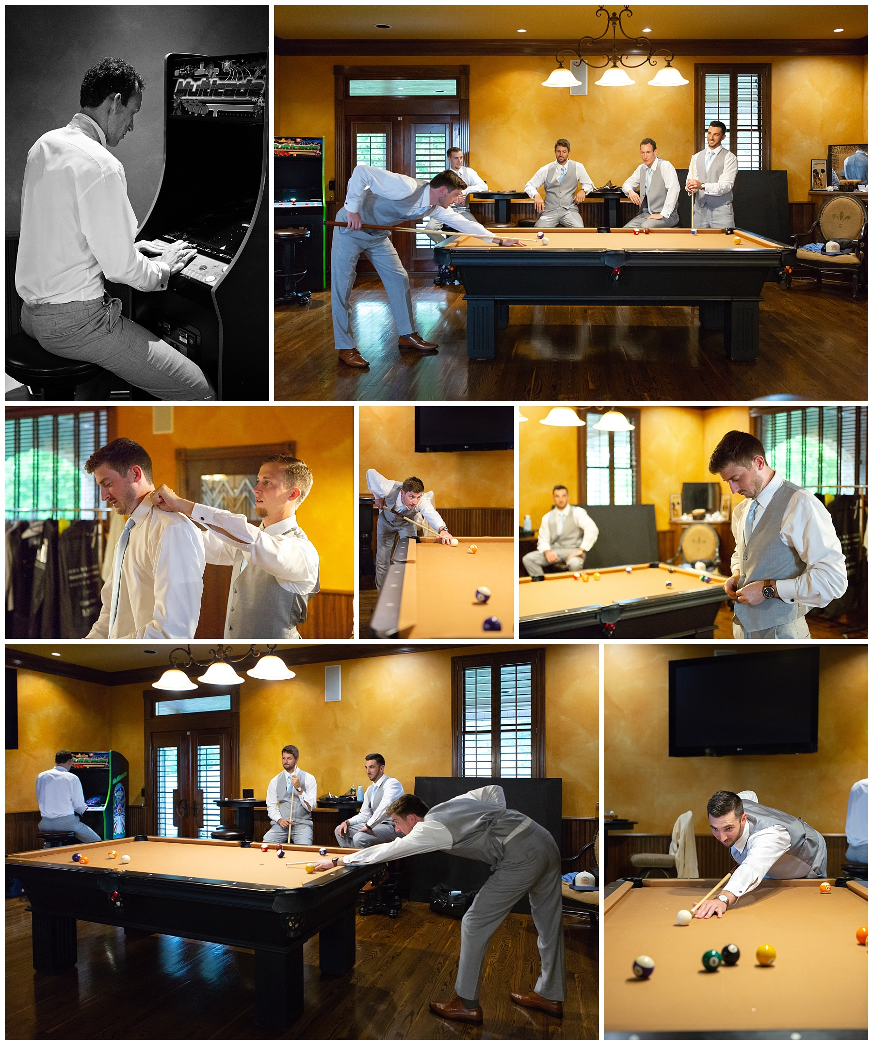 Groomsmen playing pool - Rock Creek Farm - Nashville Wedding Photographer