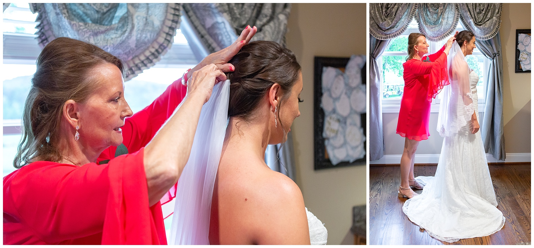Mother of the bride helping with the veil - Nashville Wedding Photographer