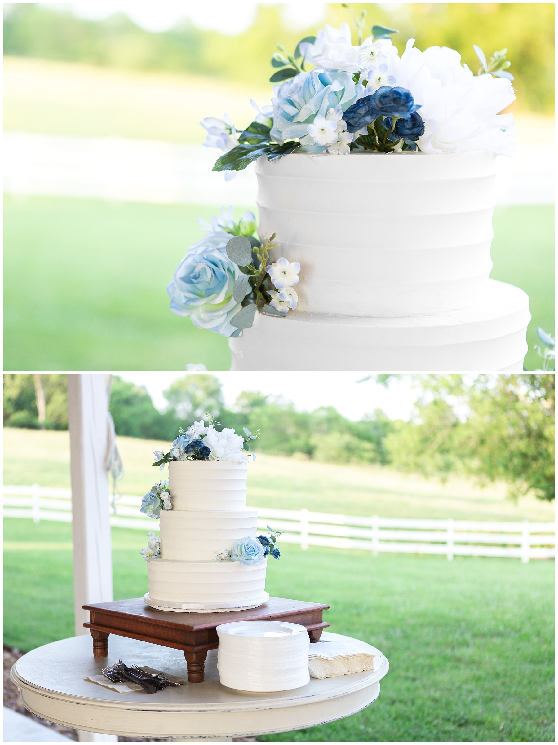 Wedding Cake with Blue flowers - Nashville Wedding