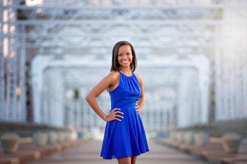 Teenage girl in blue dress on the pedestrian bridge in Nashville Tennessee - Nashville Senior Photographer