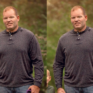 before and after - removing man boobs in photoshop